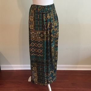 NYCC patterned faux wrap maxi stretchy skirt